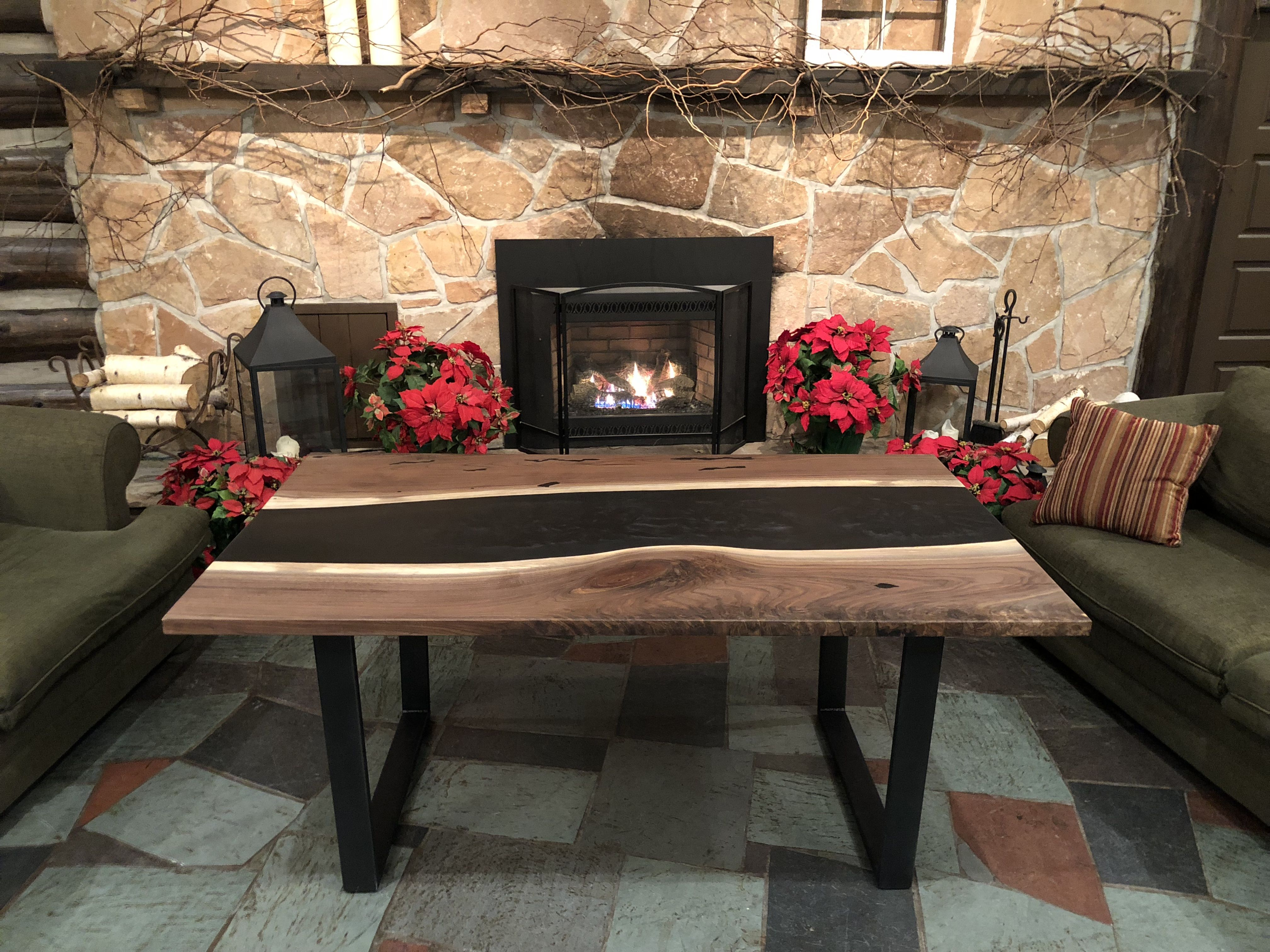 Canadian Black Walnut live edge river table. The river is ...