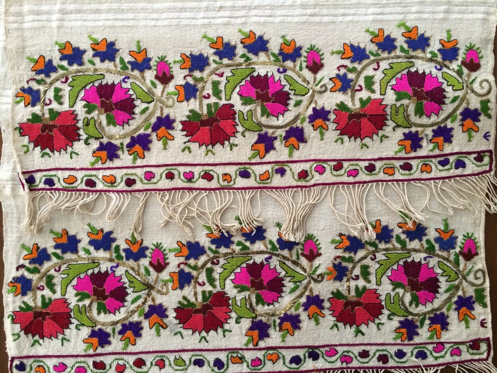 19th C Lovely Antique Ottoman Turkish Gold Silk Hand Embroidery On