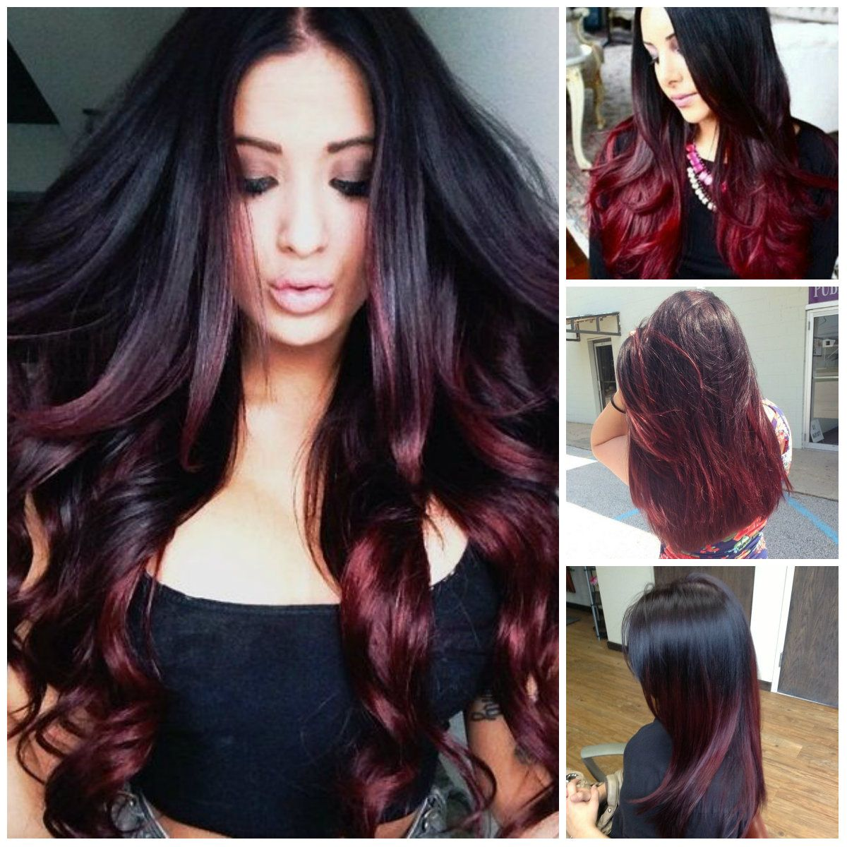Black And Burgundy Ombre Hair Colors Hair Color Trends ...