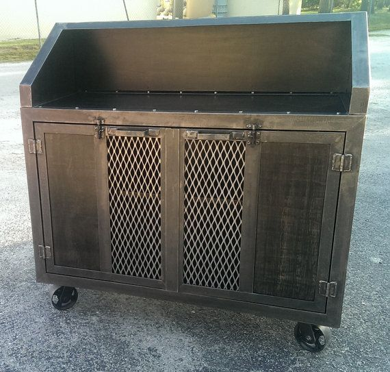 Industrial Rolling Bar Cart #012  Industrial Style ...