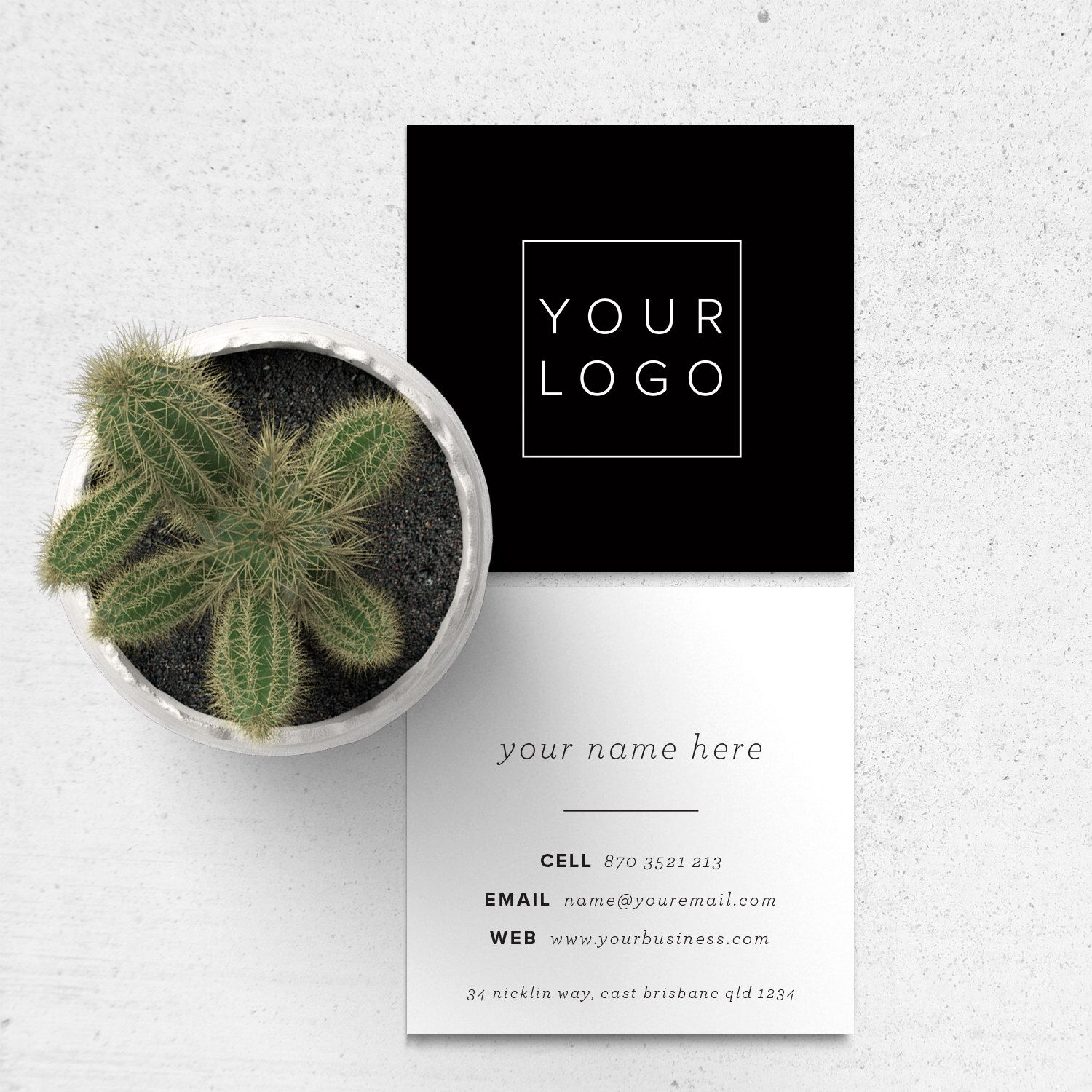 Square Business Card Design // Add your own logo, black and white ...