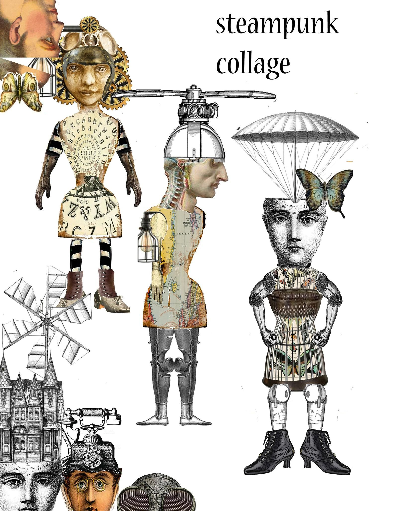 Printable Collage sheet Steampunk victorian circus fairies craft project paper dolls journal page items