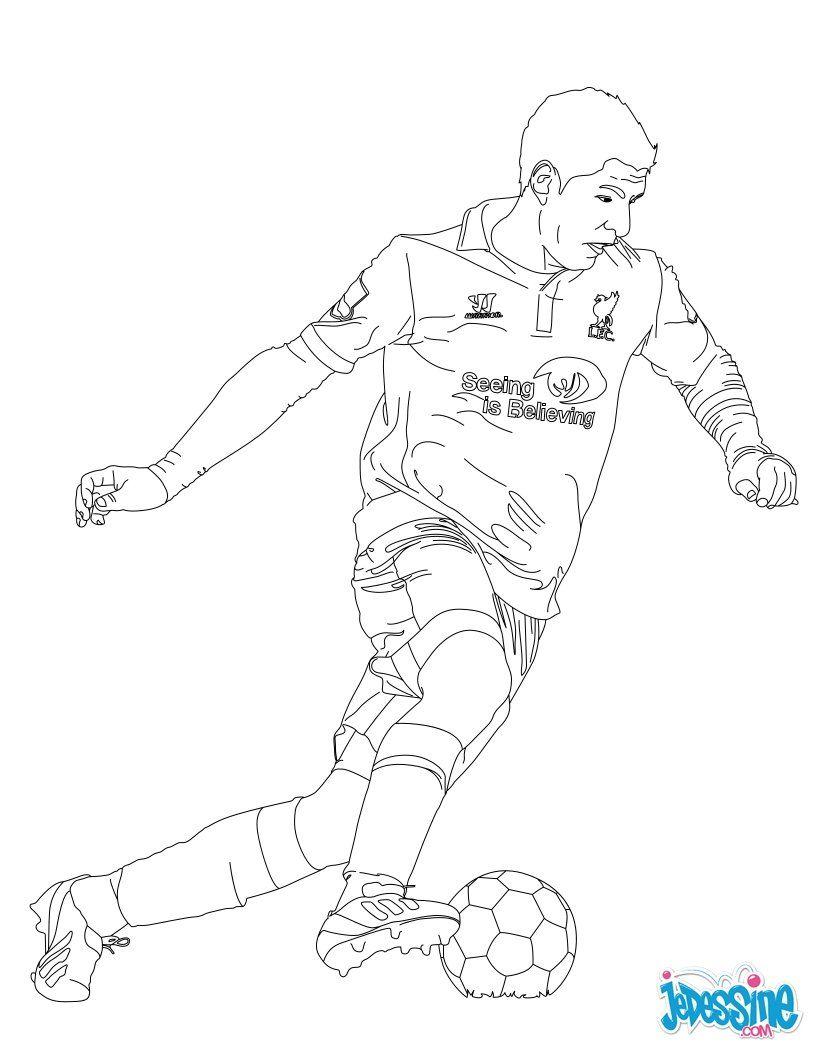 Coloriage du joueur de foot Luis Suarez € imprimer gratuitement ou colorier en ligne sur