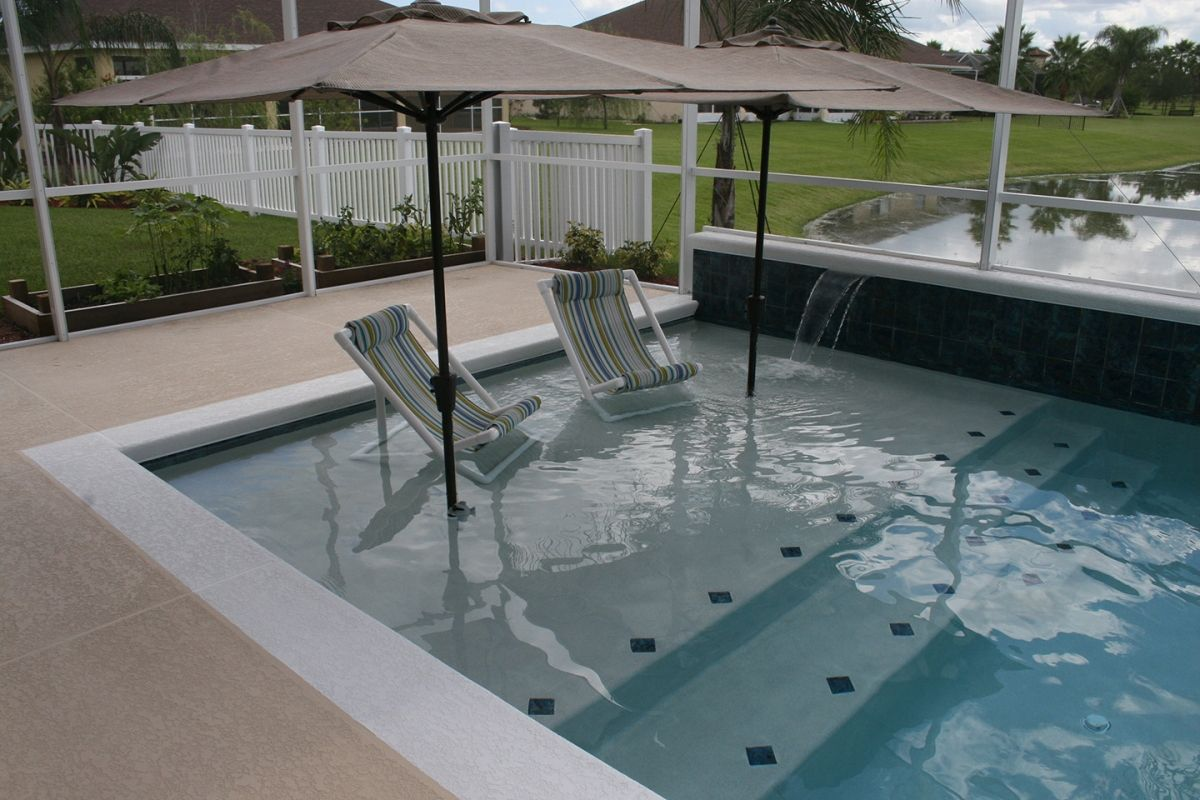 Modern Pool With Sun Shelf All Aqua Pools Close Up Of