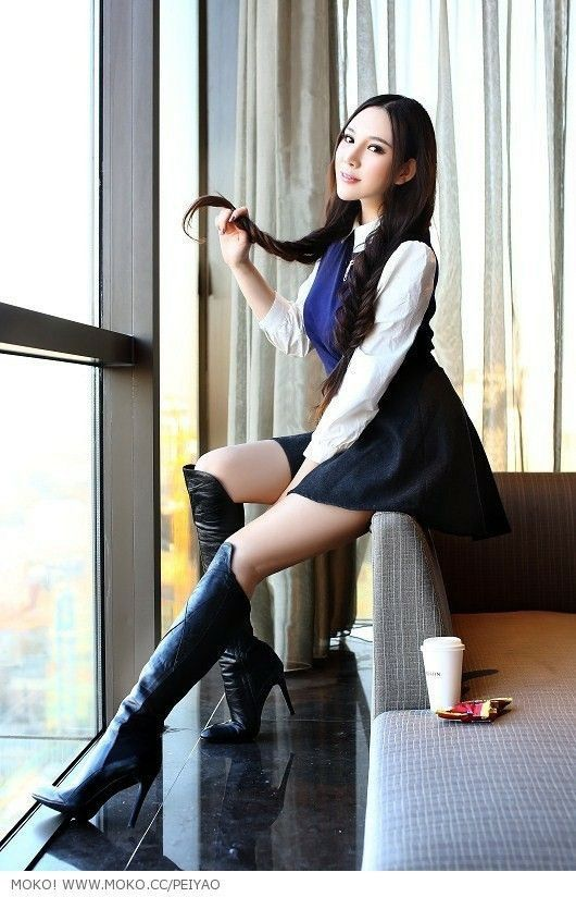 boot in Asian girl