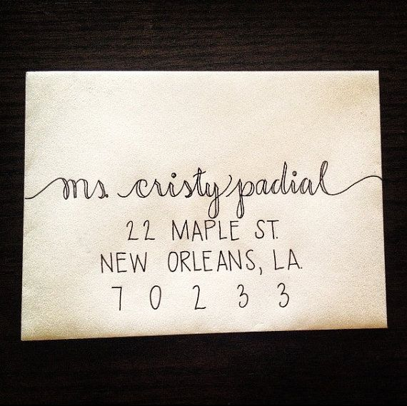 Custom wedding calligraphy envelope addressing hand