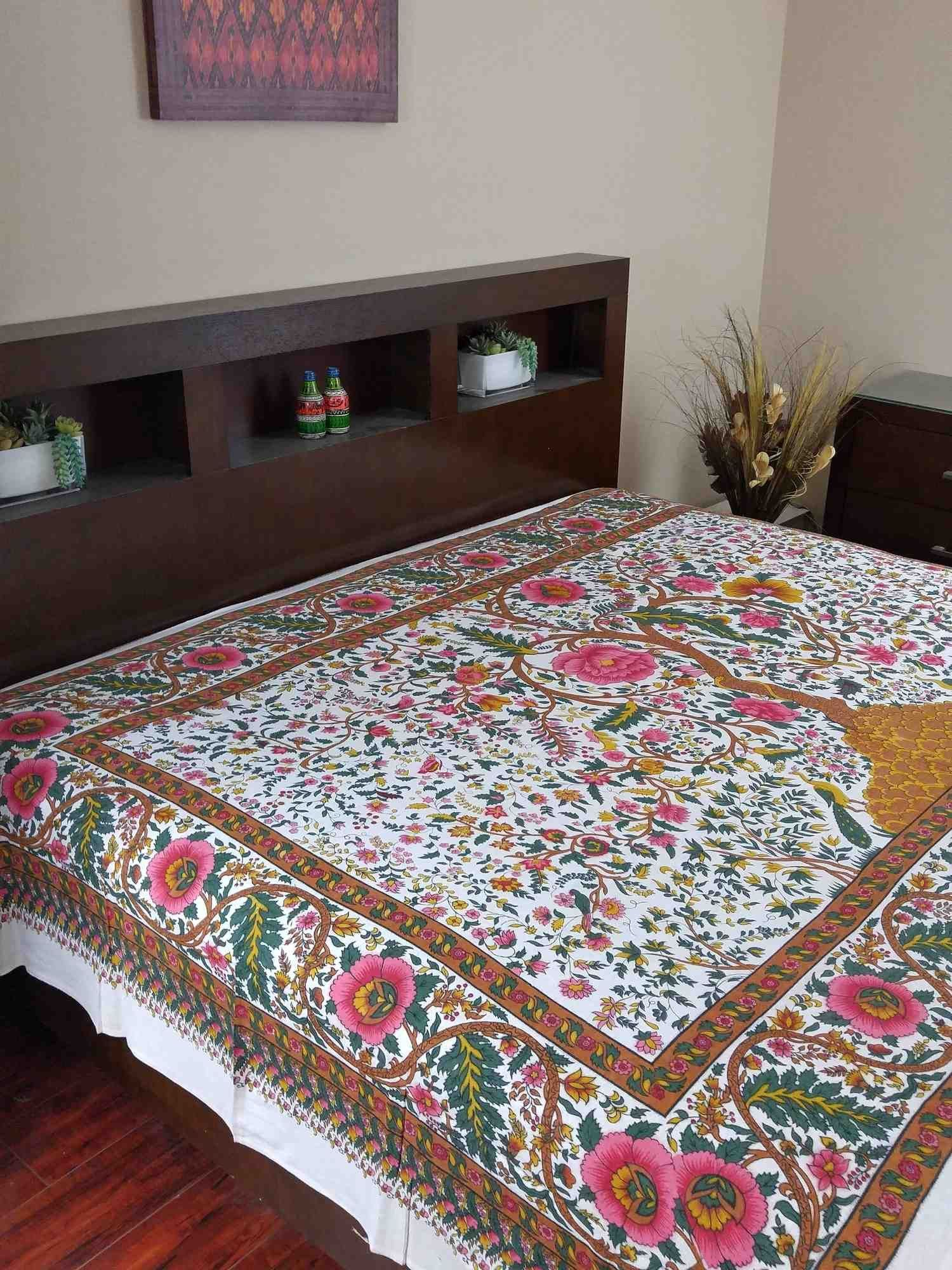 Handmade cotton tree of life tapestry tablecloth spread full