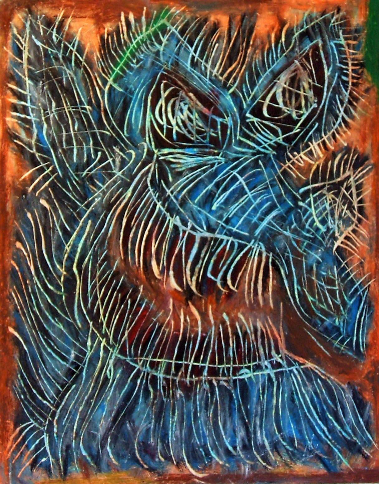 """Orco azzurro"" 2013 Tecnica mista su cartoncino 48x38 ©Pietro Gargano"