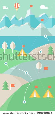 Landscape Infographics. Mountains, Lake and Hills Hiking Route - stock vector