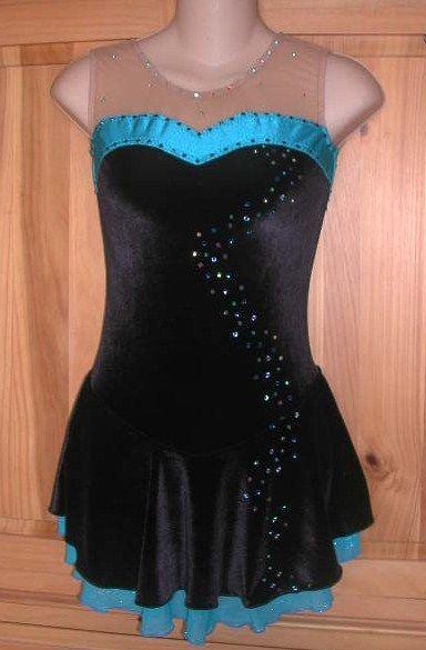 Icings NWT Blue Ice Figure Roller Skating Dance Baton Dress  CM