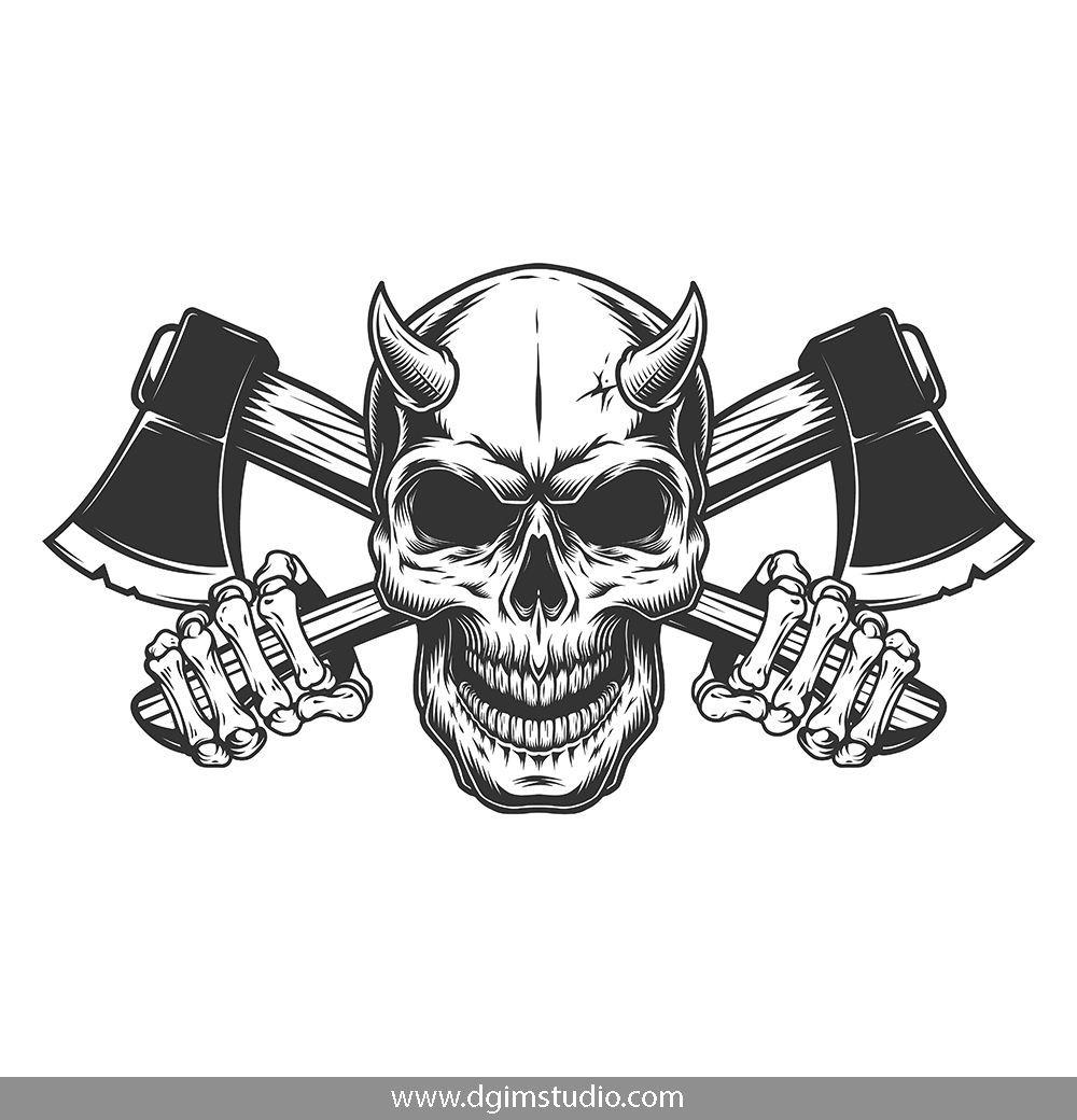 Demons Emblems Collection Skull Illustration Vintage Tshirt