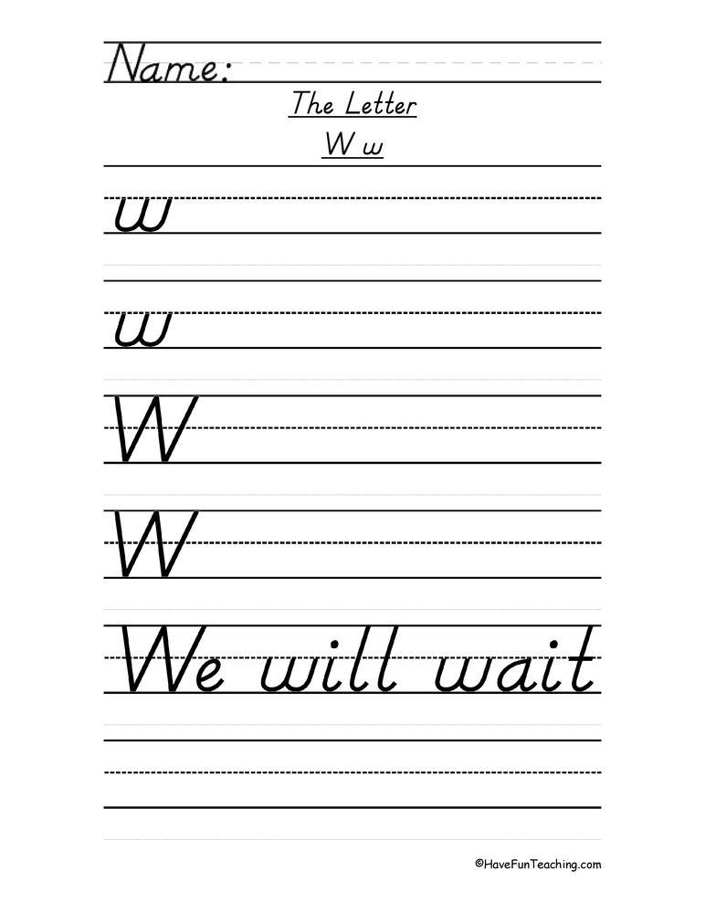 Letter W D Nealian Style Handwriting Practice Worksheet Handwriting Practice Worksheets Handwriting Worksheets Handwriting Practice Dnealian handwriting worksheet