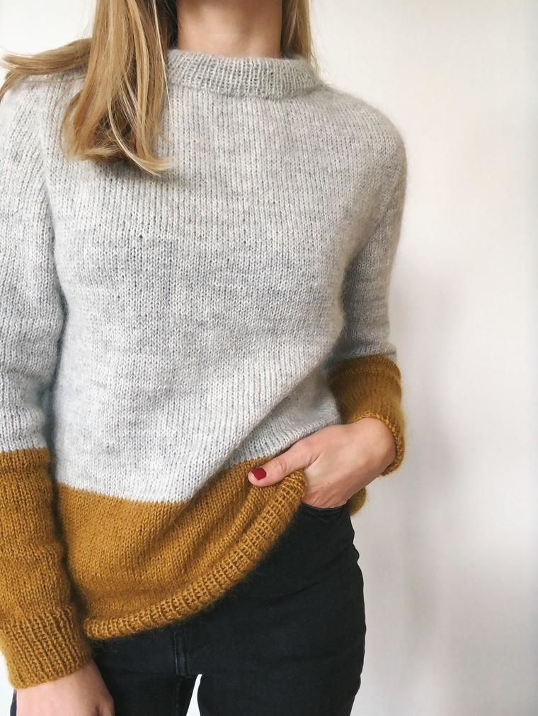 Contrast Sweater In 2020 Contrast Pullover Knitting Inspiration Sweater Pattern