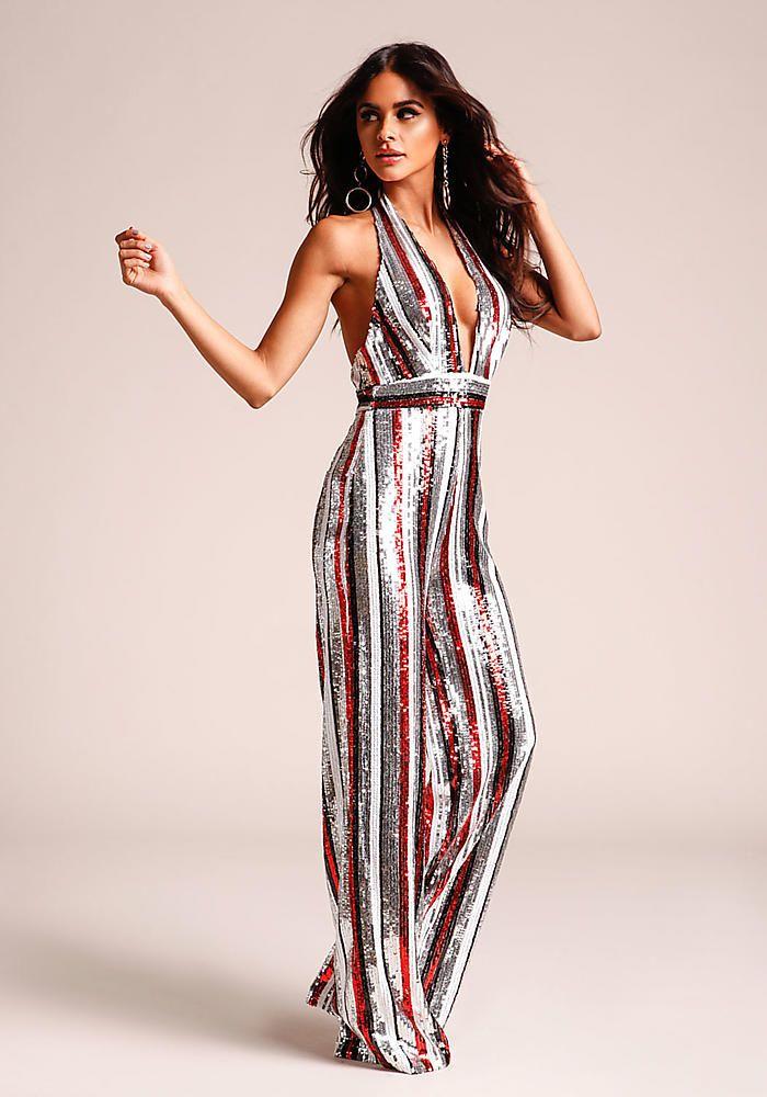 102fb5750fd5 Multi Stripe Sequin Plunge Halter Jumpsuit - Jumpsuits   Rompers - Clothes