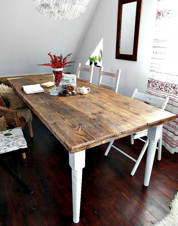 Hand Crafted 6 8 10 Seater Farmhouse Country House Style Reclaimed Wood Dining Table Handmade Kitchen Old White Brown Rustic