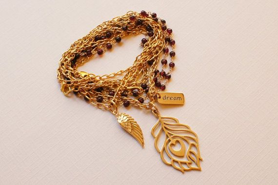 Gold and Gemstone Convertible Necklace by checkeredzebra on Etsy