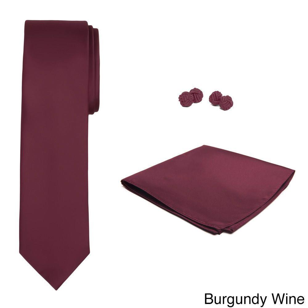 Jacob Alexander Men's -color Skinny Tie Hanky and Cufflink Set