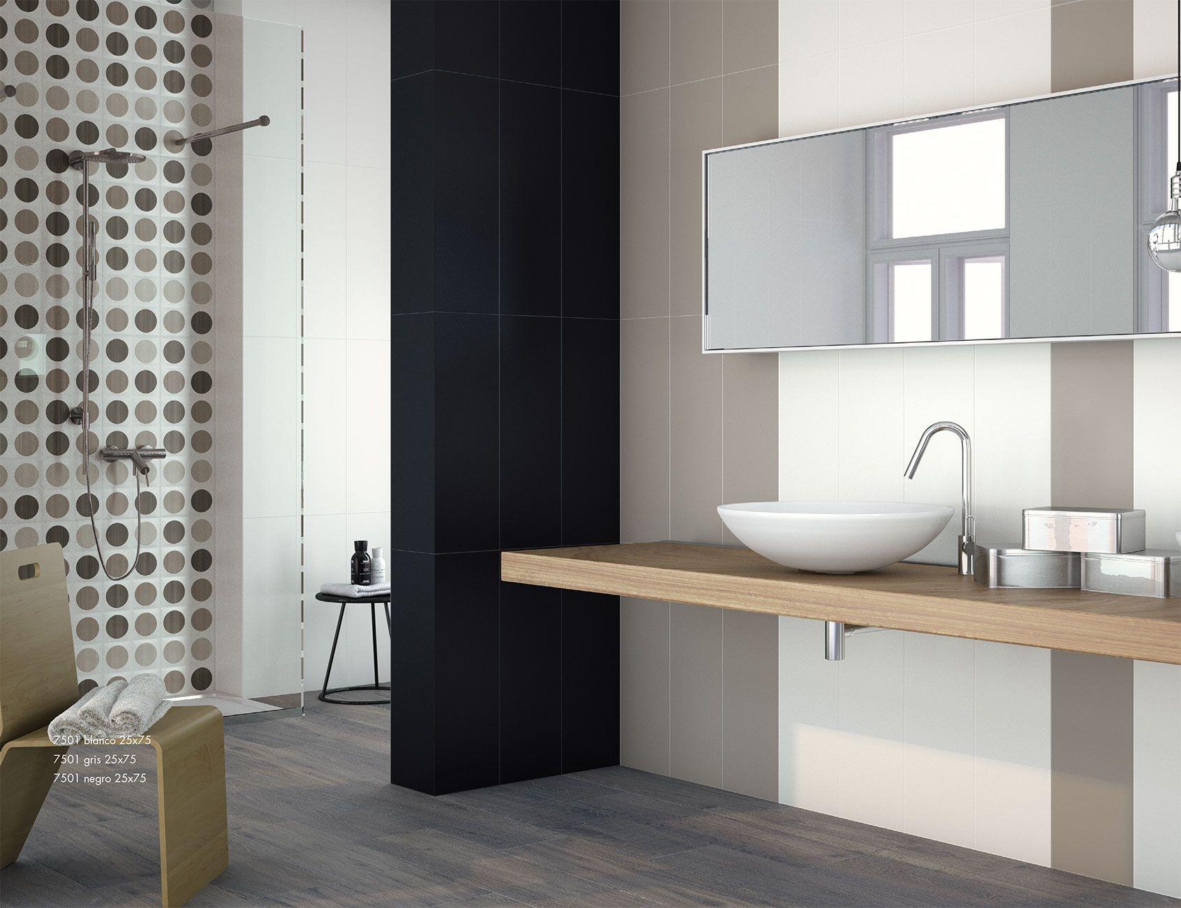 Ba os con suelos imitaci n madera y ceramicas de estilo for Ceramica para banos modernos