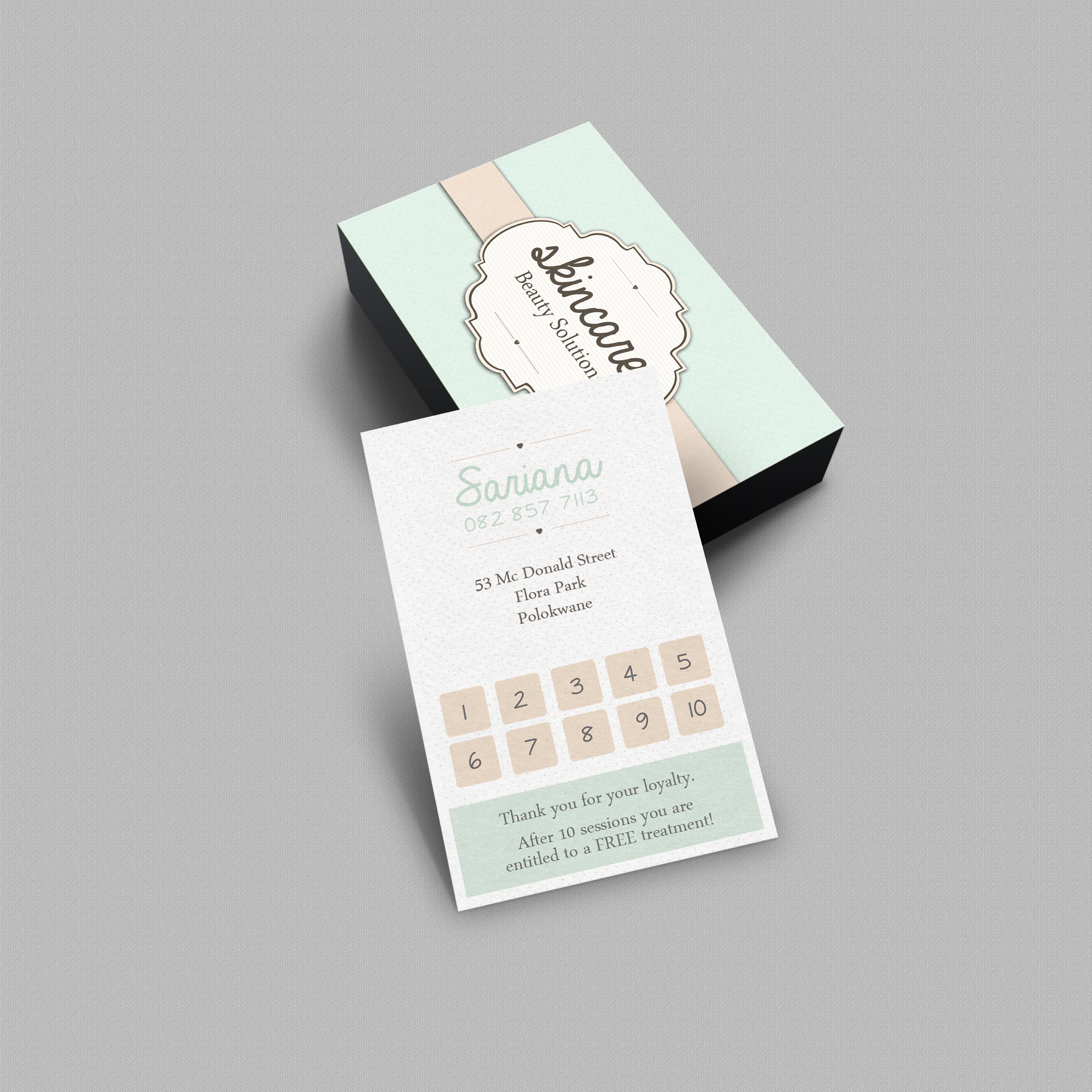 Loyalty Card For Skincare Beauty Solutions Www Vsdesigns Co Za Les Salons De Manucure Carte De Fidelite Carte De Visite