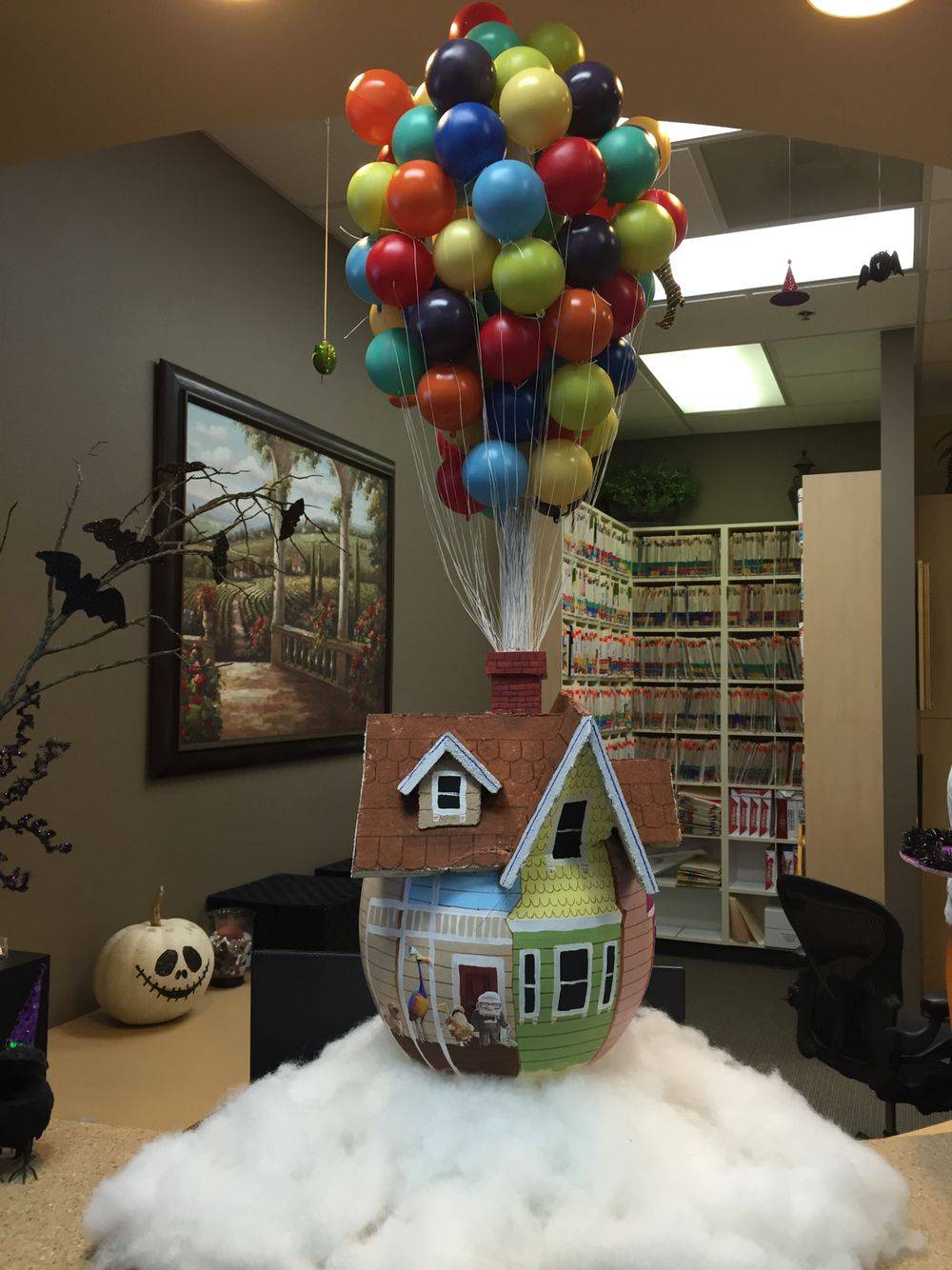 Tanasbourne Dental Care is ready for the pumpkin contest. We did the UP house theme.