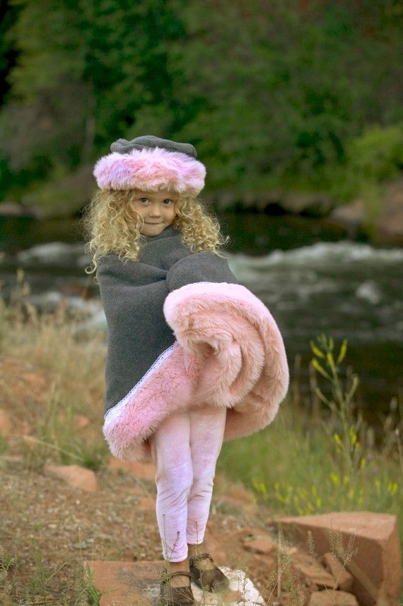 6d0b7d6f4360 Pink Girls Poncho Faux Fur