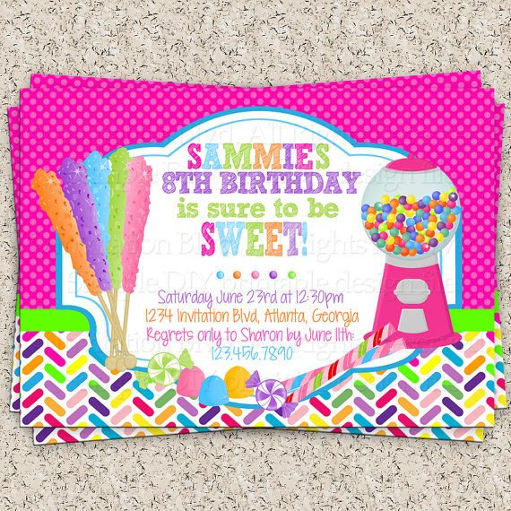 rainbow rock candy - gumball machine - candyland party - sweets, Party invitations