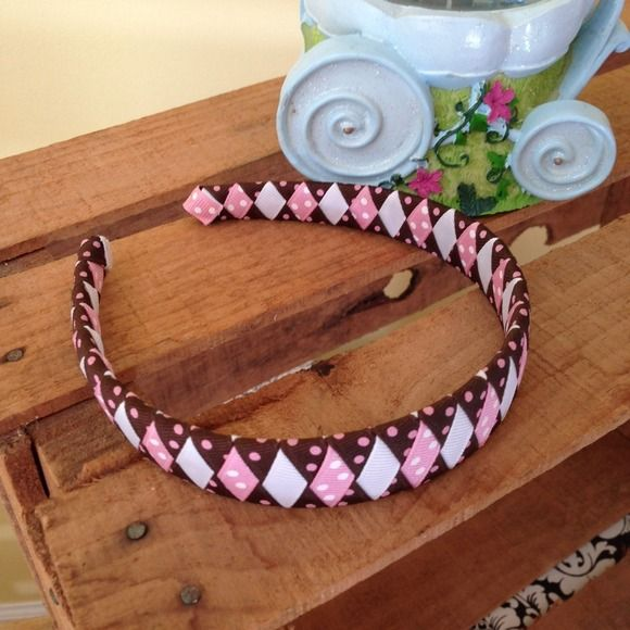 NEW Handmade braided ribbon headband. Brand New. Never Been Worn or Tried on. Handmade braided ribbon headband. Colors: brown, light pink, mauve and pink & white dots. Adult size. handmade Accessories Hair Accessories