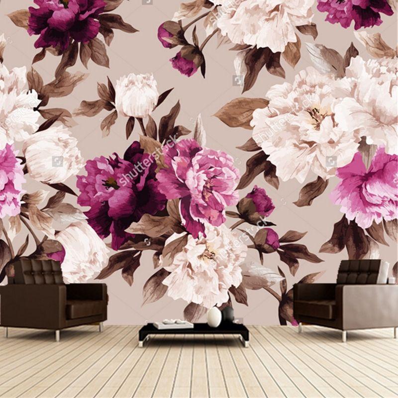 Custom floral wallpaper,Rose watercolor,3D retro painting for living