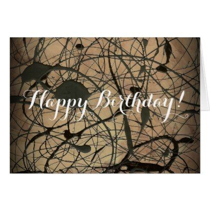 Happy Birthday Jackson Pollock Style Card