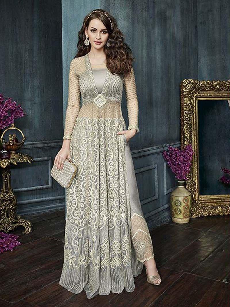 dfe794b602 Gray+Color+Long+Jacket+Style+Party+wear+Asian+Women+Dresses ...