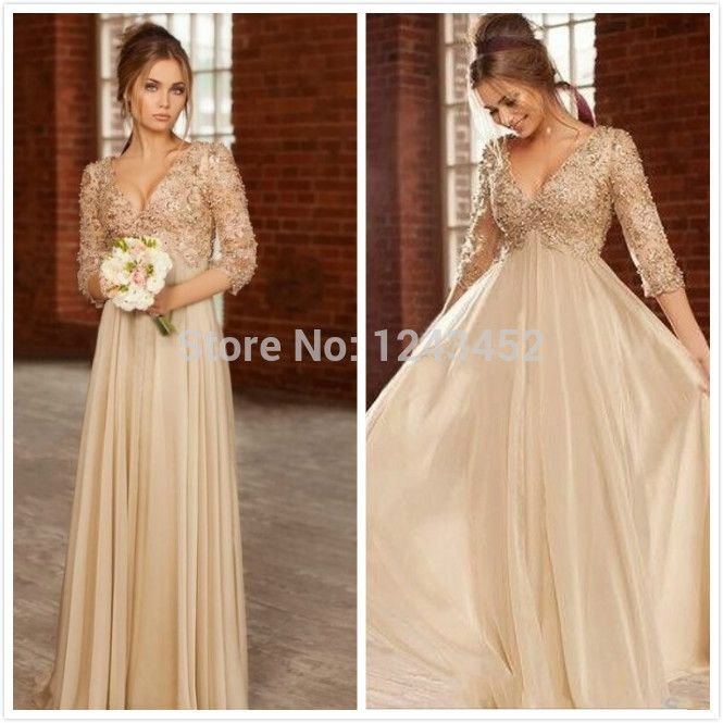 Plus Size Ivory Pearls Crystal V Neck Empire Long Chiffon Elegant Maternity Evening  Dresses For Pregnant Women E844-in Evening Dresses from Weddings ... ef93b9c09970