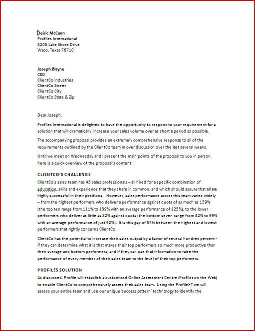 Sales Proposal Letter  Sales Proposal Letter Is Written To The New
