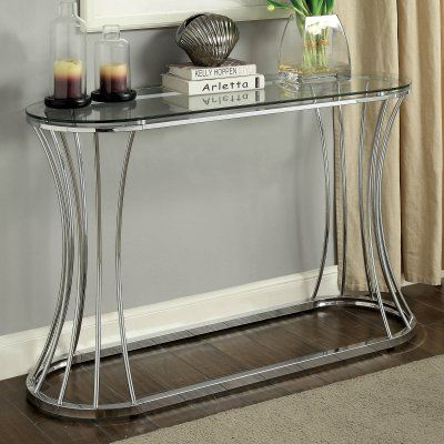 Furniture Of America Rocca Curved Chrome Console Table Console