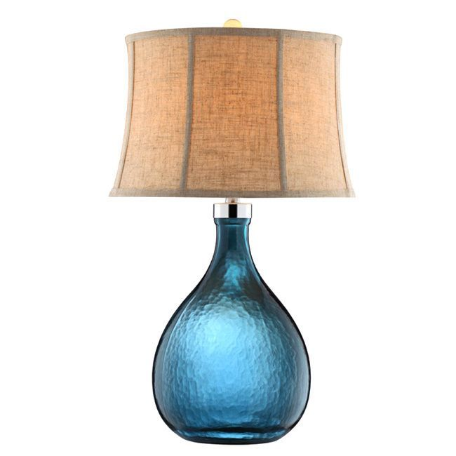 This fabulously chic ariga glass table lamp will light up any room striking blue art glass gives its teardrop base a modern twist