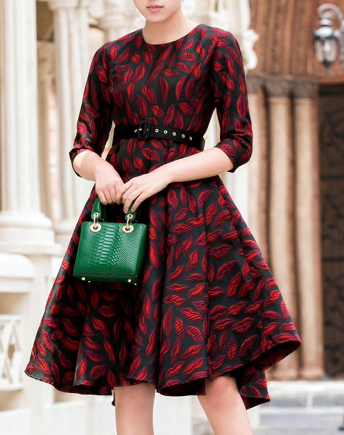 Adorewe cdy red round neck sleeve swing midi dress adorewe