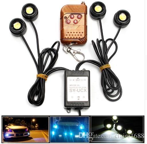 Universal 4in1 12v 12w Hawkeye Led Car Emergency Strobe Lights Drl Wireless Remote Control Kit Accessories 6000k 21 99