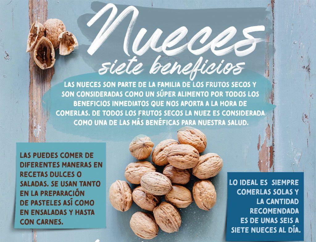 Los 7 Beneficios De Comer Nueces Infografia Súper Alimentos Beneficios De Alimentos Frutas Y Verduras Beneficios