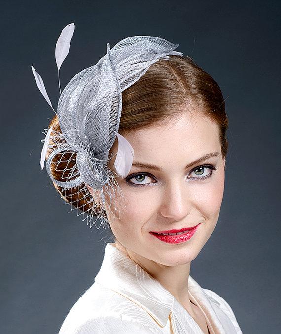 silver grey grey fascinator hat derby hat fascinator hat gray fascinator hat wedding hat fascinator Silver fascinator fascinators
