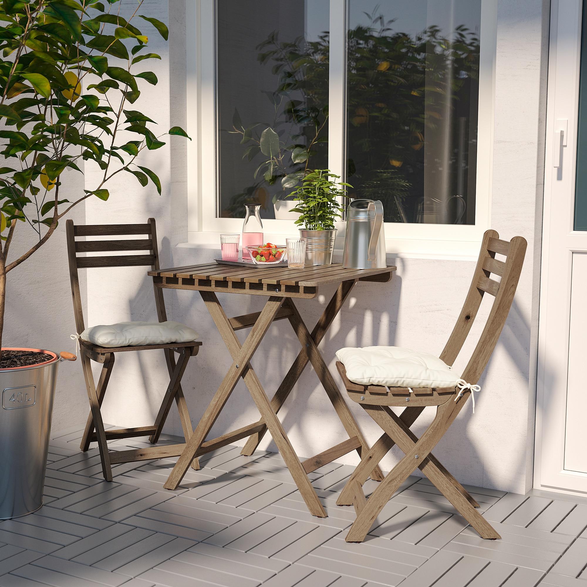 Best Discount Furniture Stores: ASKHOLMEN Bistro Set, Outdoor Gray Gray-brown
