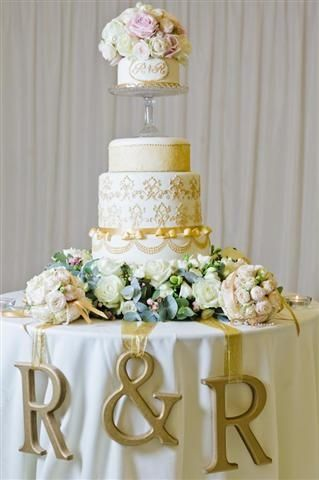 Gold And White Wedding Cake Table Decorations Wedding Cake Table Cake Table Decorations