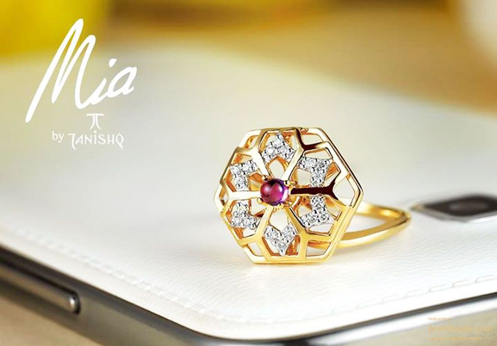 Diamond and gold ring with colored stone jewellery tanishq Cute