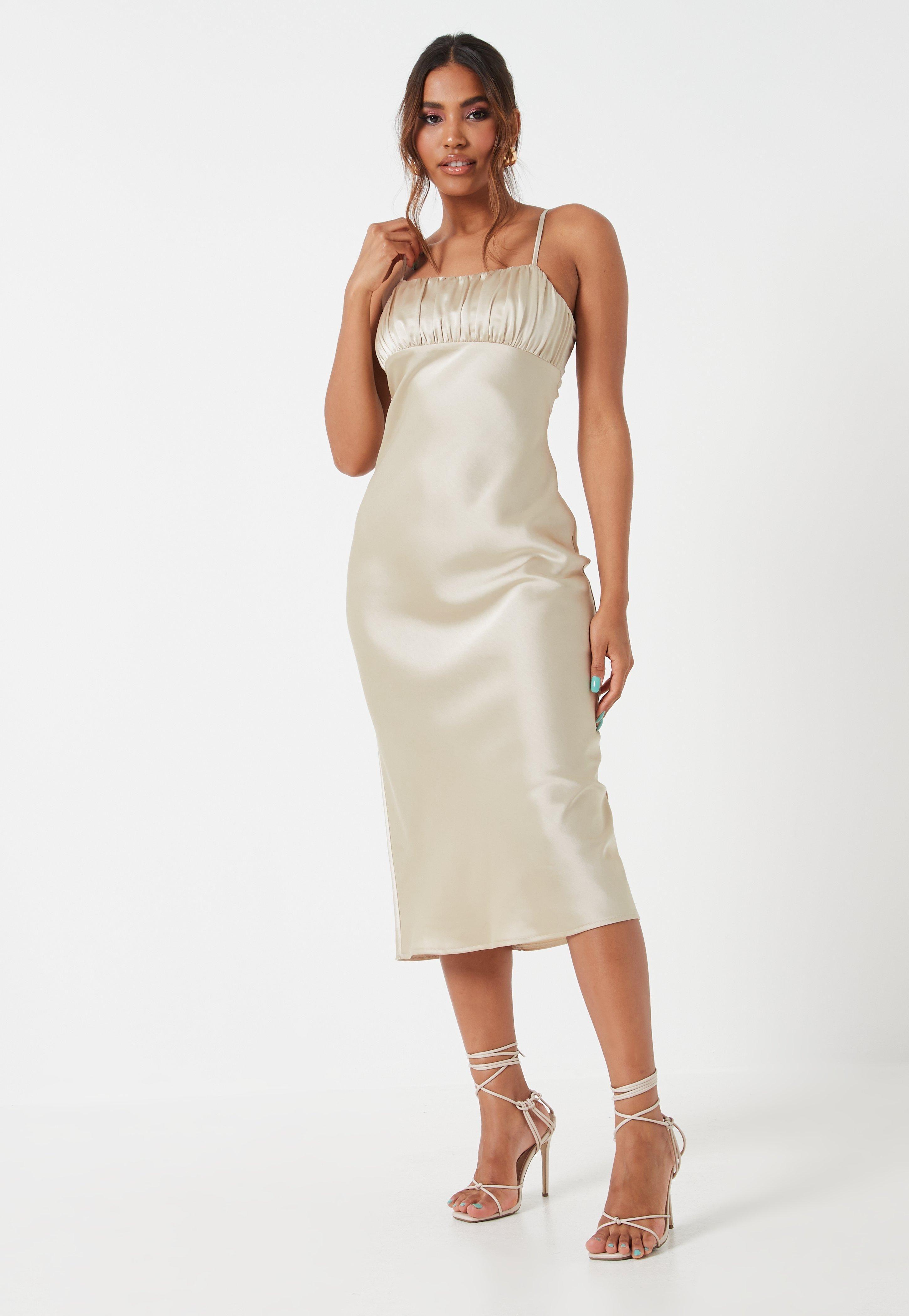 Cream Ruched Bust Strappy Midi Dress Sponsored Bust Aff Ruched Cream Strappy Midi Dress Trending Dresses Women Dress Online [ 4200 x 2900 Pixel ]