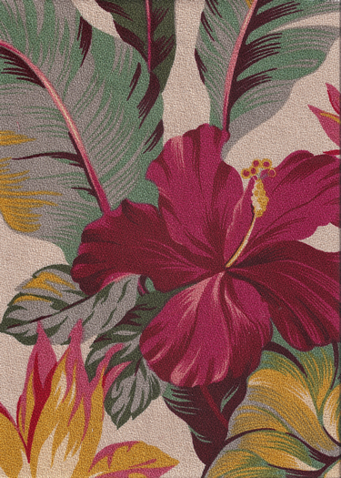 """Fabric Name: Pau Hana  it means quitting time, work's done. It's available in a nubby upholstery bark cloth, a """"canvas"""" & non-upholstery barkcloth style. This tropical vintage inspired fabric features Hawaiian bird of paradise and hibiscus flowers & is available in a black or a light taupe (dark cream) background.  More fabrics at: BarkclothHawaii.com"""
