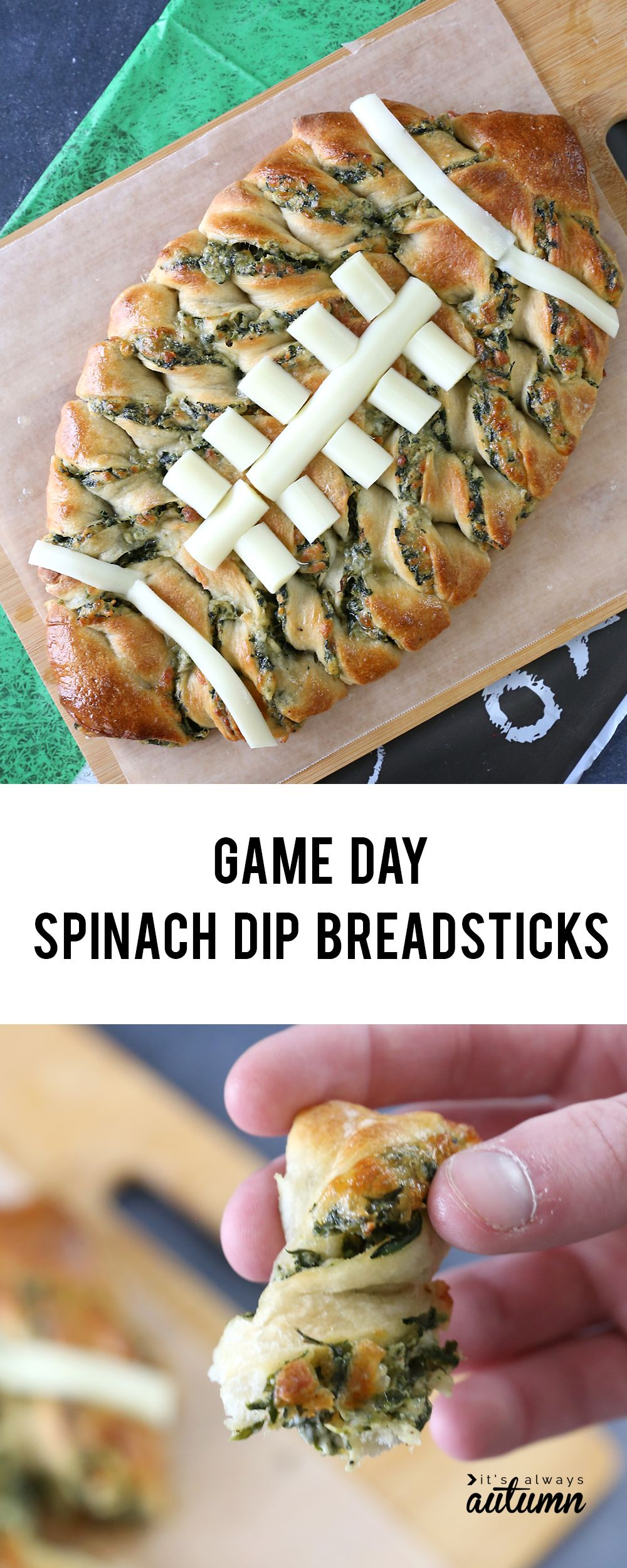 Football shaped spinach dip breadsticks for the big game! - It's Always Autumn