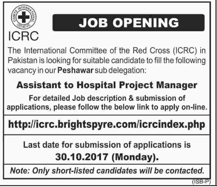 International Committee Of The Red Cross Jobs 2017 In Peshawar For - it project manager job description