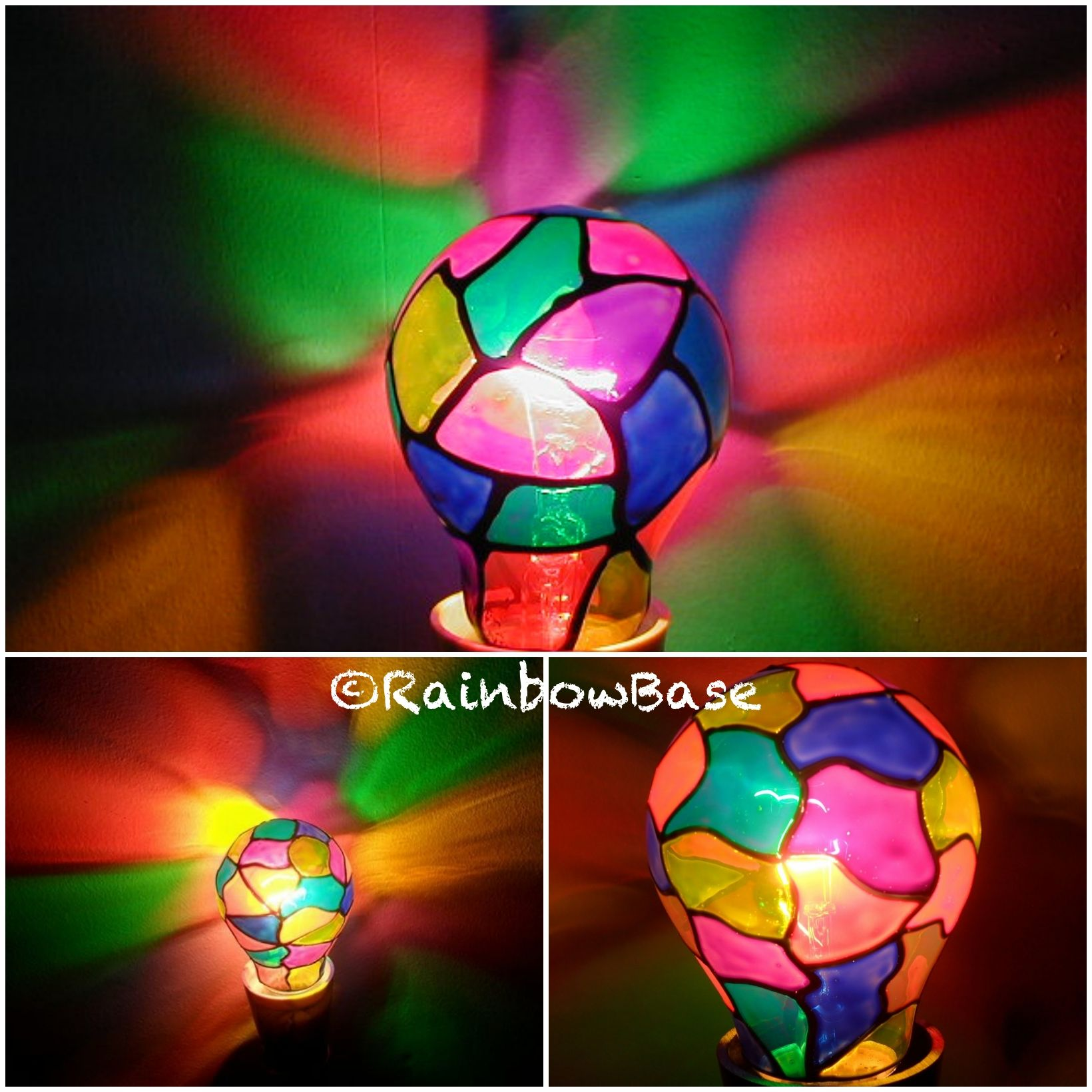 Ekklesia Multicoloured Tiffany Style Regular Gls Bulb Light Bulb Art Painted Light Bulbs Tiffany Style