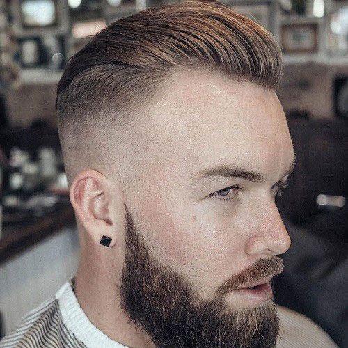 Pelo peinado hacia atr s piel alta fade barba completa for Peinado hacia atras hombre
