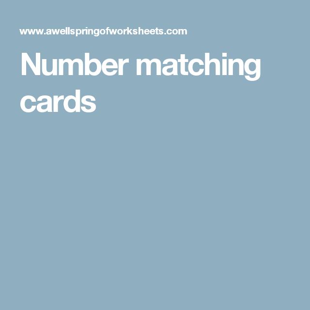 Number matching cards | Math | Pinterest | Worksheets, Kindergarten ...