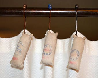 Feed Sack Shower Curtain Hooks Rustic Farmhouse Shower Curtain