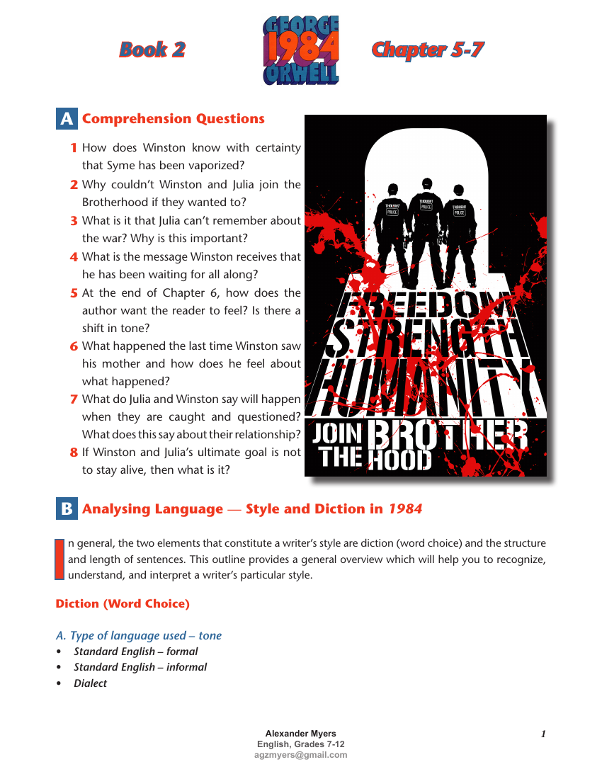 1984 George Orwell Complete Igcse Teach Exam Prep Bundle Answers